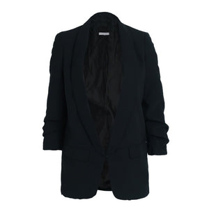 Blazer Top Turn Down Neck - Ruched Sleeve Slim Fit Blaizer Woven Trends
