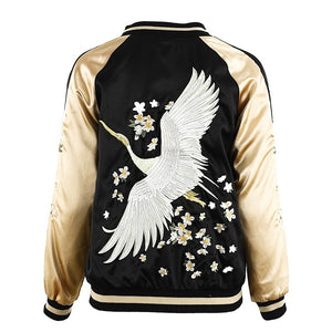Bomber Jacket Vintage Swan Embroidery - Embroidery Detail Bomber Jacket Reversible Woven Trends