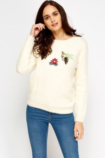 Embroidered Bumble Bee & Flower Eyelash Jumper - Bee & Flower Embroidery Top Knitwear & Jumpers - Woven Trends Fashion Collection