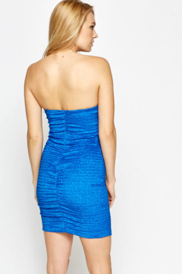 Textured Royal Blue Bandeau Dress - woven-trends