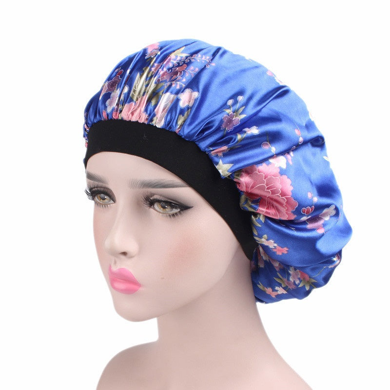 Night Hair Cap Wide Fitted Band Satin Night Bonnet - woven-trends
