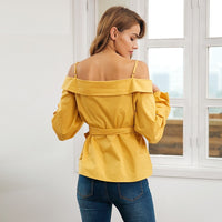 Off shoulder Strap Detail Blouse - Long Cuff Lantern Sleeve Blouse - woven-trends