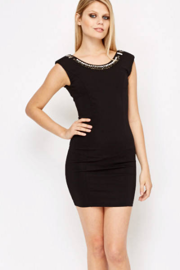 Encrusted Neck Zip Back Dress - Jewel Encrusted Neck Dress Dresses - Woven Trends Fashion Collection