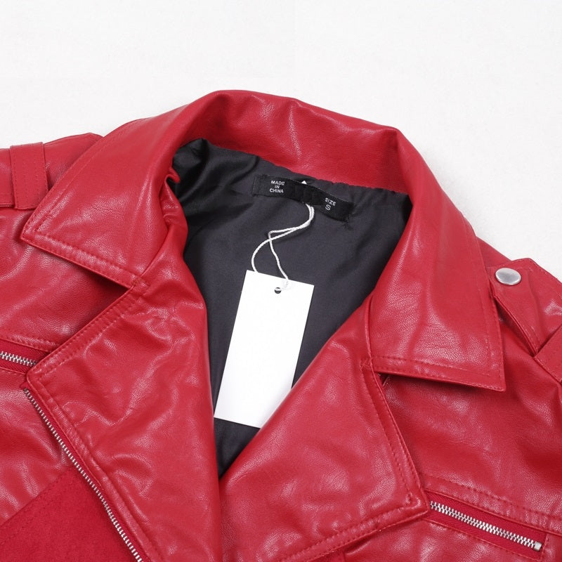 PU Leather Jacket Belt and Zipper Detail - Casual Faux Leather Coat