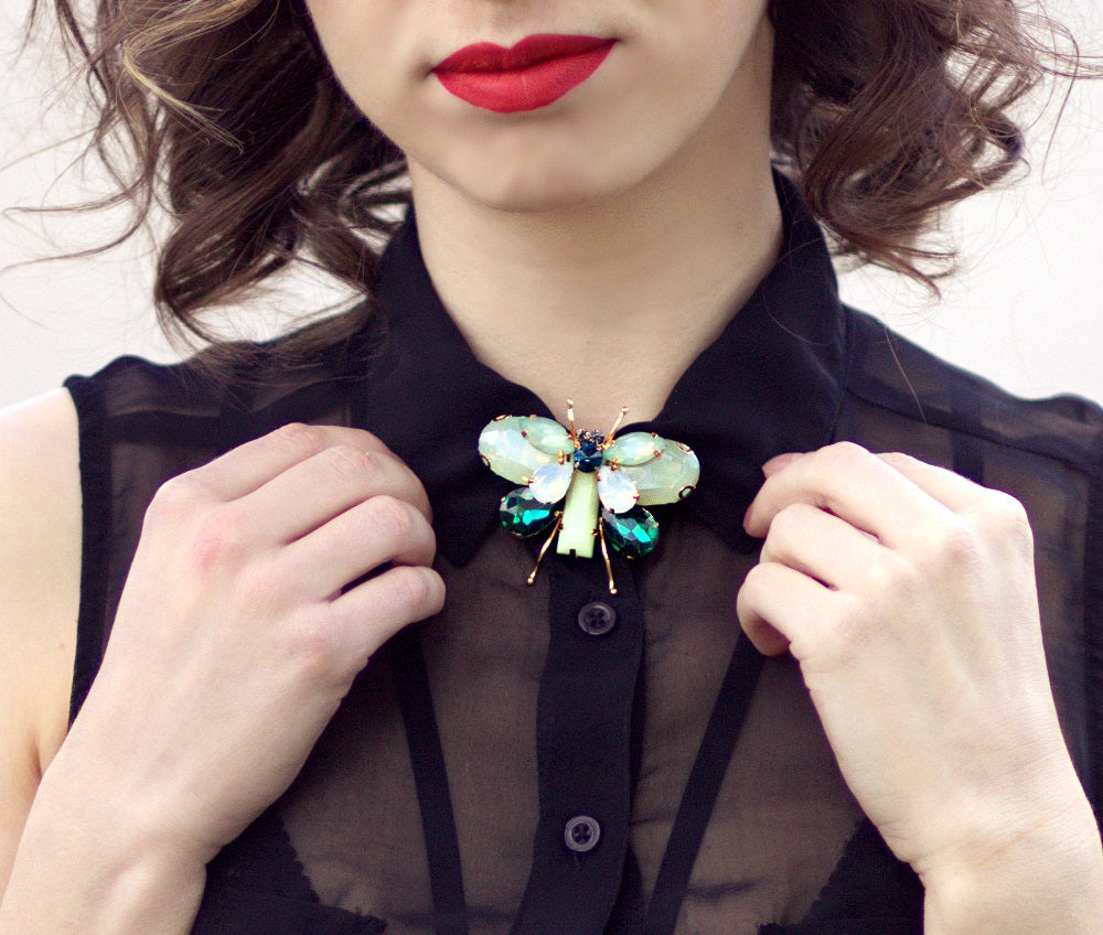 Butterfly Gem Crystals Brooch - woven-trends