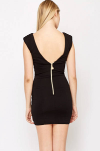 Encrusted Neck Zip Back Dress - Jewel Encrusted Neck Dress Woven Trends