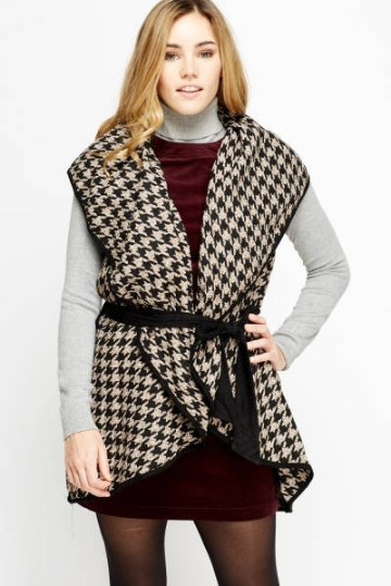 Houndstooth Wrapped Poncho - Wrapped Poncho Tops - Woven Trends Fashion Collection