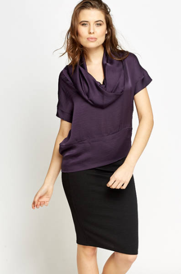 Cowl Neck Blouse in Purple - Cowl Neck Overlay Blouse Tops - Woven Trends Fashion Collection