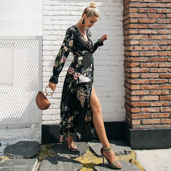 Floral and Crane Print Kimono Long Sleeve Gown Dress - woven-trends