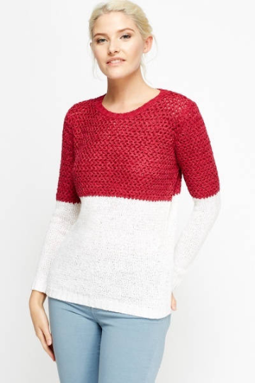 Colour Block Mix Knit Jumper - Block Contrast Knitted Jumper Knitwear & Jumpers - Woven Trends Fashion Collection