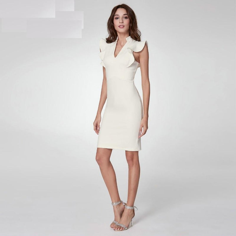 V Neck Detail Cocktail Party Dress - Stretch Feel Straight Elegant Knit Ruffle Sleeve Dress - woven-trends