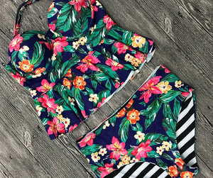 Two Piece Push Up Swimsuit - Floral Biquini Beachwear Lingerie - Woven Trends Fashion Collection