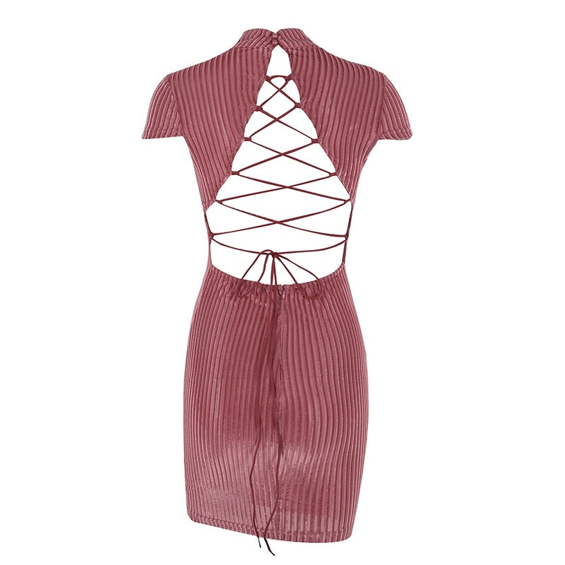 Lace Up Dress Backless Sexy Design - Corduroy Vintage Look Backless Bodycon Dress - woven-trends