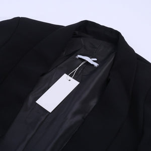 Blazer Top Turn Down Neck - Ruched Sleeve Slim Fit Blaizer - woven-trends