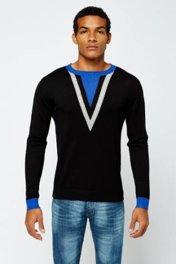 Colour Detailed Black Jumper Men's Clothing - Woven Trends Fashion Collection