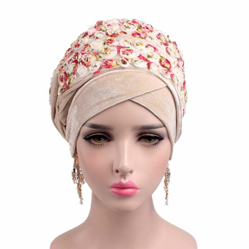 3D Rose Flower Velvet Long Turban Headscarf - Floral Hijab Cap - woven-trends