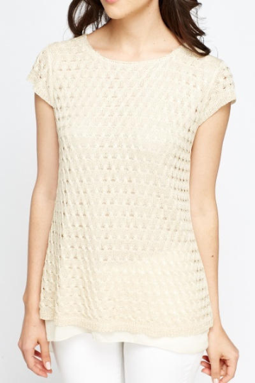 Cap Sleeve Knit Overlay Top - Knit Overlay Top Tops - Woven Trends Fashion Collection
