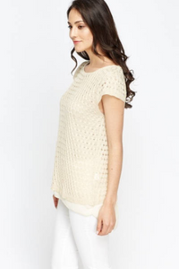 Cap Sleeve Knit Overlay Top - Knit Overlay Top Woven Trends