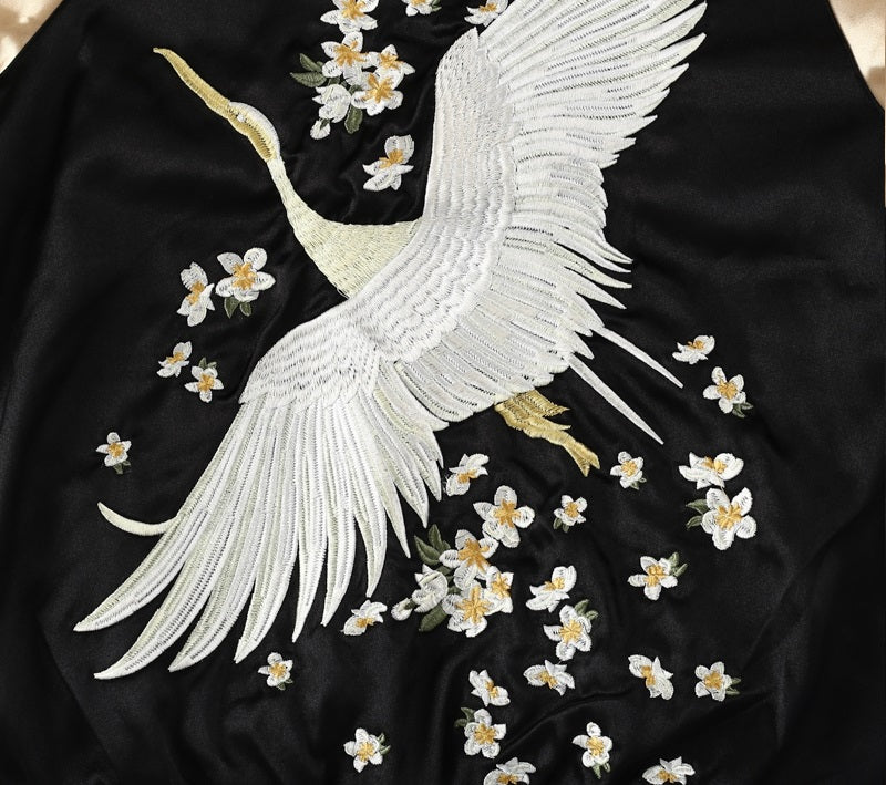 Bomber Jacket Vintage Swan Embroidery - Embroidery Detail Bomber Jacket Reversible - woven-trends