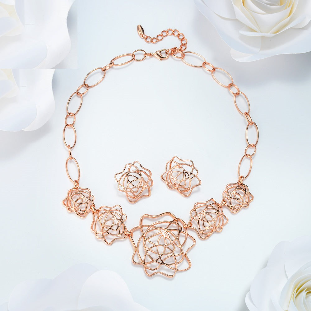 Rose Gold Petal Design Earring & Necklace Set - Jewelry Set Jewellery - Woven Trends Fashion Collection