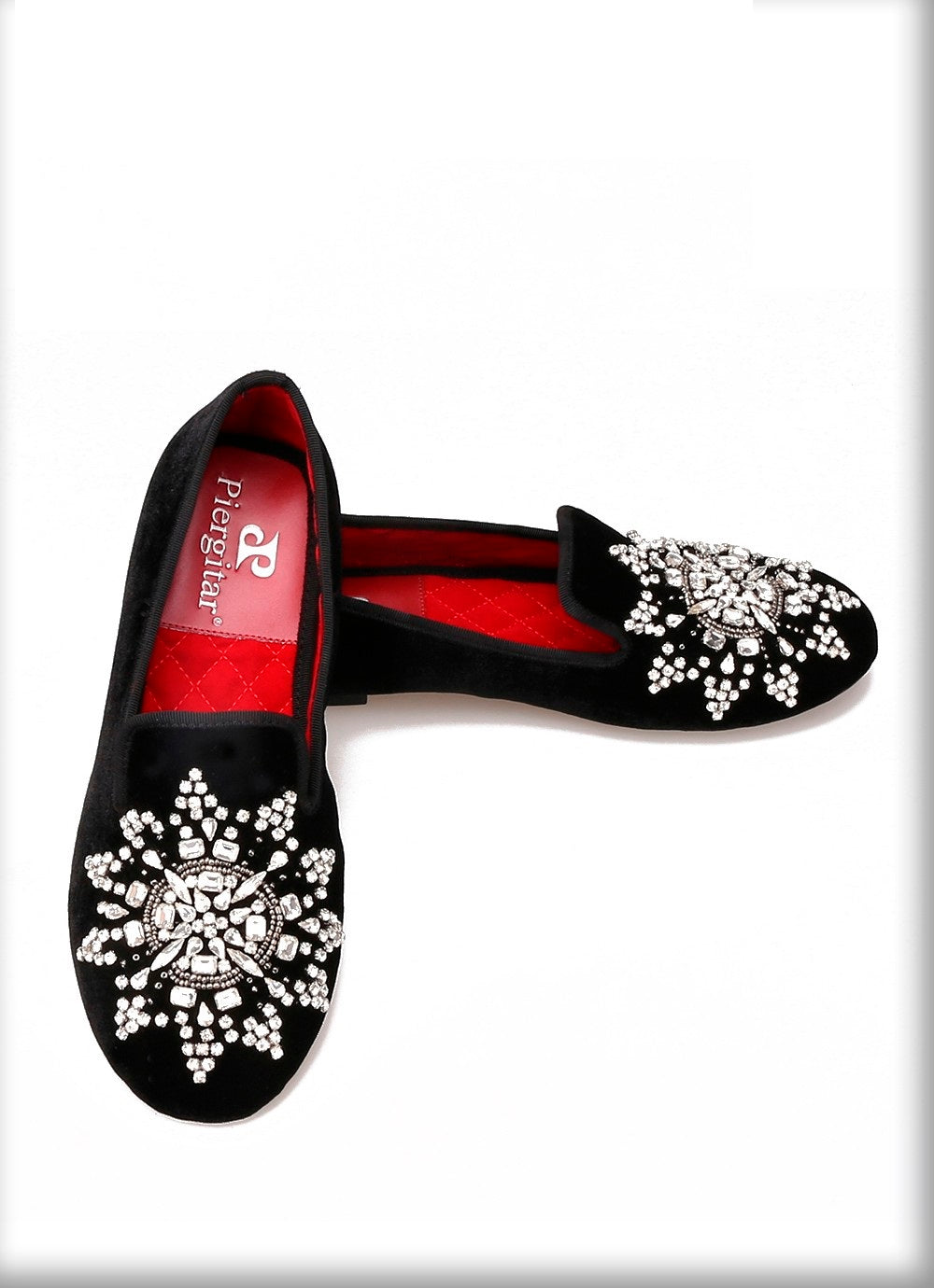 Handmade Diamante Floral Flat Shoe - Flat Black Shoe Diamante Detailed - woven-trends