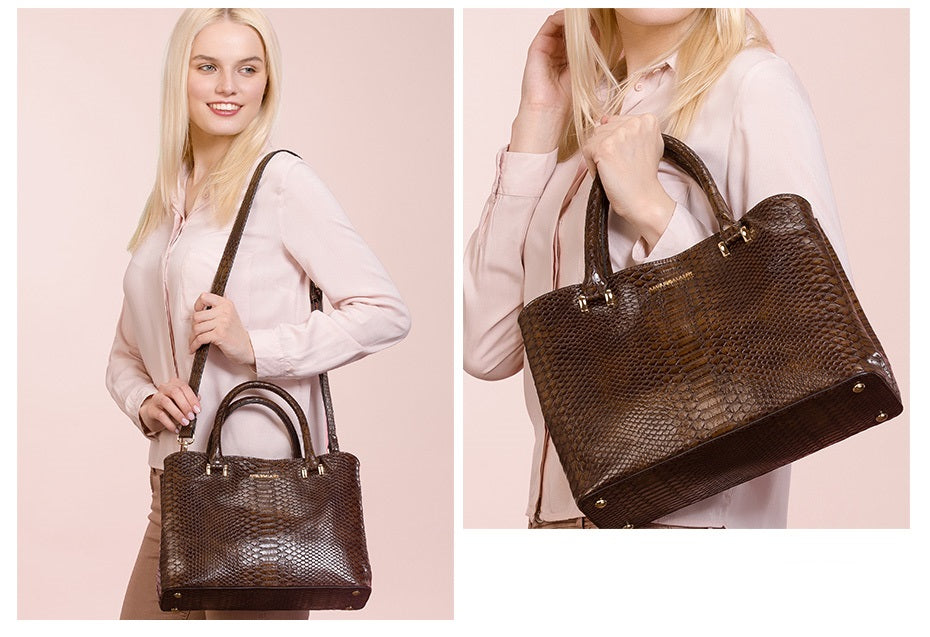 Strap Shoulder Serpentine Feel Handbag - Top Handle PU Versatile Fashion Bag Bags - Woven Trends Fashion Collection