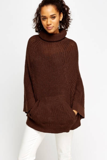 Dark Brown Turtleneck Poncho - Turtleneck Poncho - woven-trends
