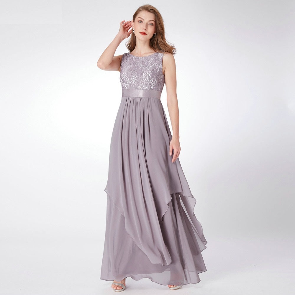 A Line Silhouette Sleeveless Party Gown Dress - Pleated Maxi Dress Hollow Out Cut Dresses - Woven Trends Fashion Collection