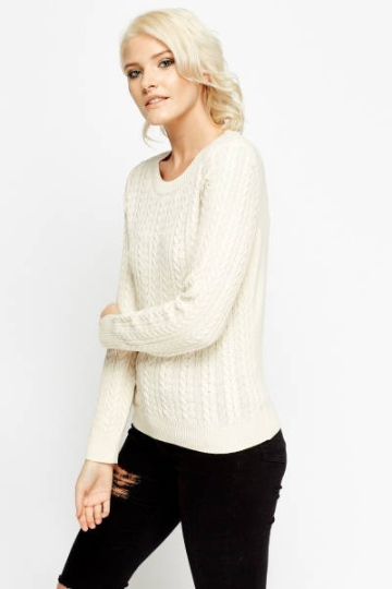 Cable Knit Front Jumper - Knitted Jumper Knitwear & Jumpers - Woven Trends Fashion Collection