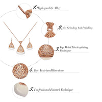 Triangular Hollow Out Pendant Rose Gold Necklace & Earring Set - Statement Jewellery Set - woven-trends