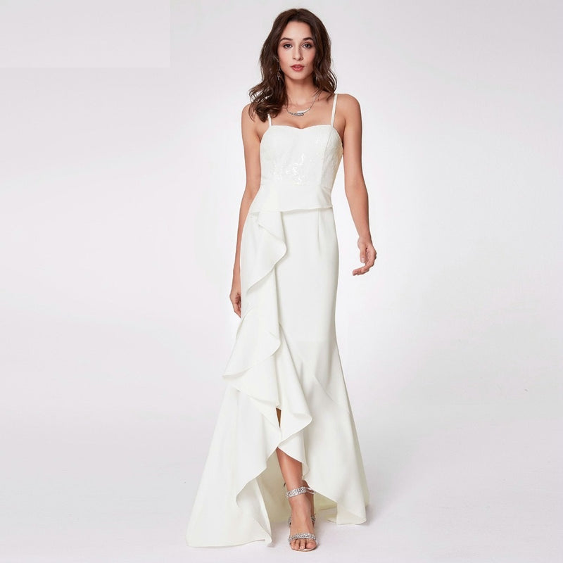 Ruffle Trim Spaghetti Strap Long Maxi Dress - White Party Gown Dress Ruffle Pleat Trim - woven-trends