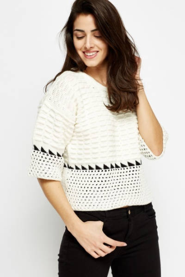 Cable Knit Cropped Jumper - Cable Knitted Jumper Woven Trends