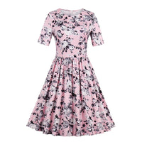Rose Dress A Line Floral Print - Elegant Short Sleeve Pretty Dress - woven-trends