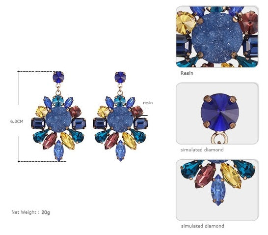 Colorful Statement Drop Stud Earrings - woven-trends