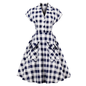 1950's Vintage Dress Retro Style - Short Sleeve Pocket Detail Party Dress Woven Trends