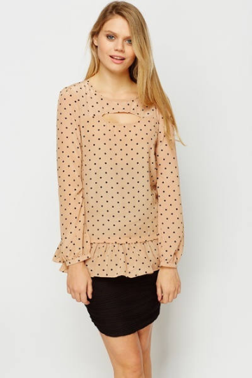 Cut Out Polka Dot Blouse - Cut Detailed Polka Dot Blouse Tops - Woven Trends Fashion Collection