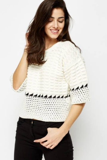 Cable Knit Cropped Jumper - Cable Knitted Jumper - woven-trends