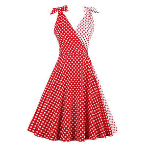 Vintage Style 1950's Polkadot Dress - Red Contrast Bowknot Sleeves Dress - woven-trends