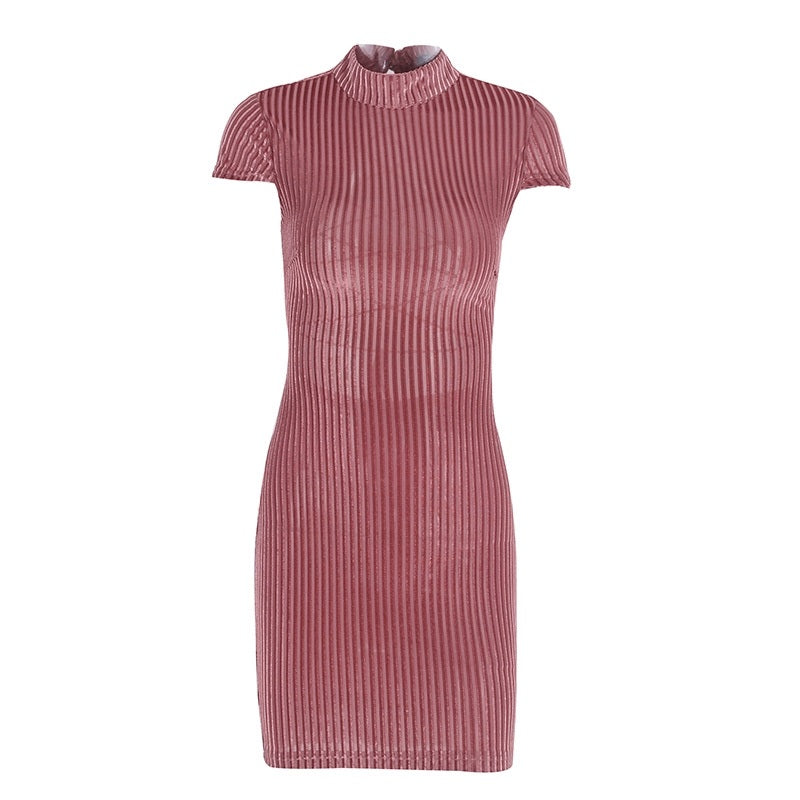 Lace Up Dress Backless Sexy Design - Corduroy Vintage Look Backless Bodycon Dress Woven Trends