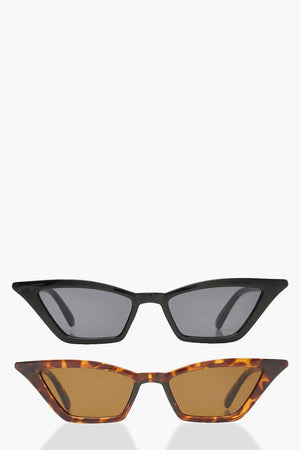 Noelle Double Pack Skinny Winged Cat Eye Sunglasses - Woven Trends