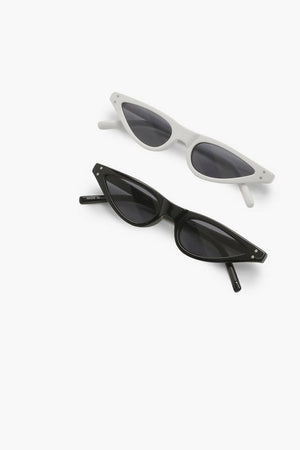 Double Pair Skinny Cat Eye Sunglasses - Woven Trends