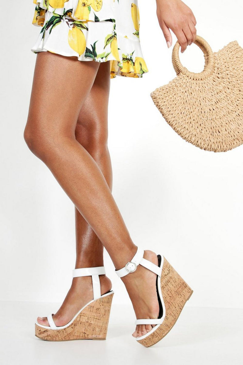 Evelyn Strap Fit Cork Heel Wedges Shoes - Woven Trends