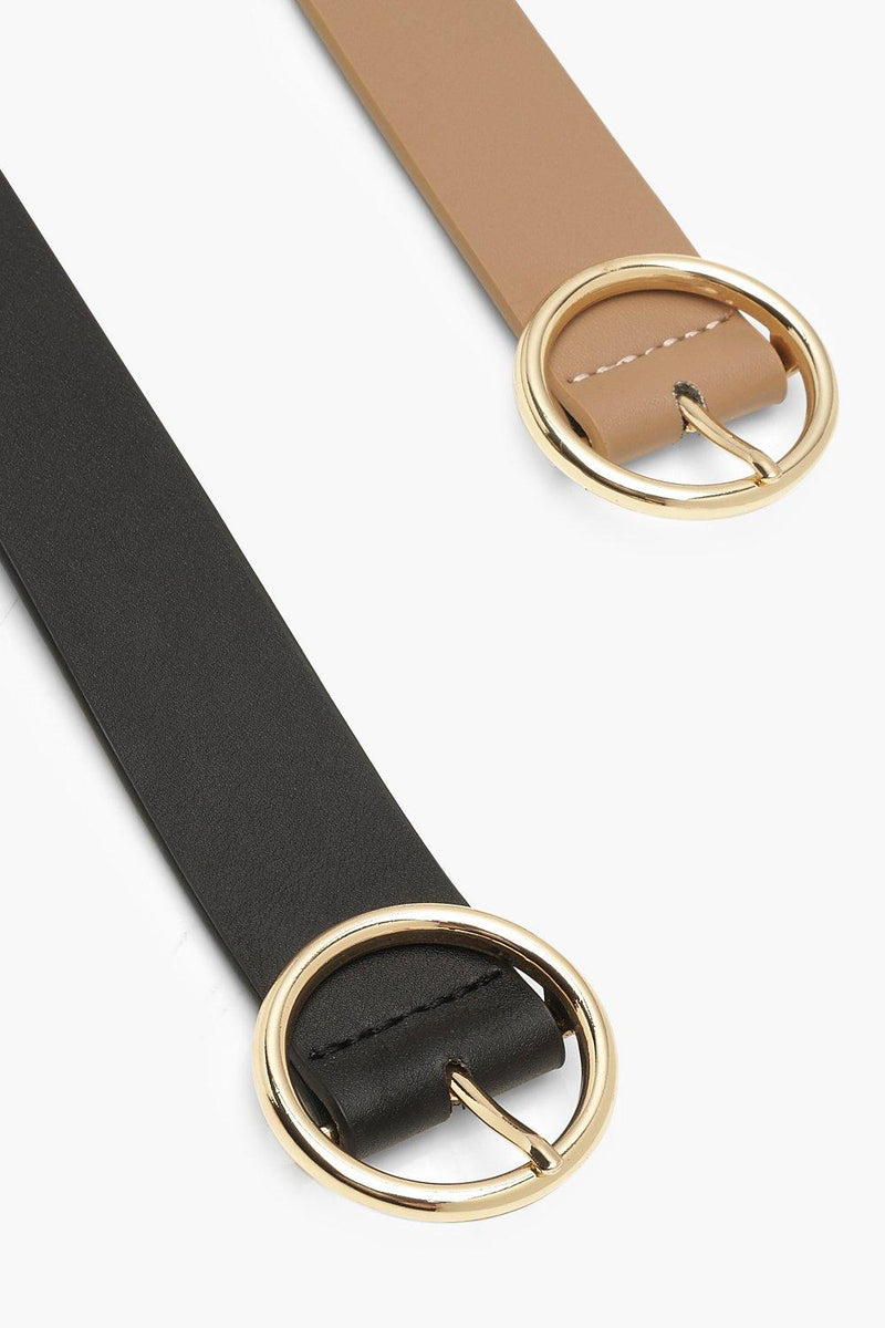 Two Pack Circle Design Buckle Belt - Woven Trends