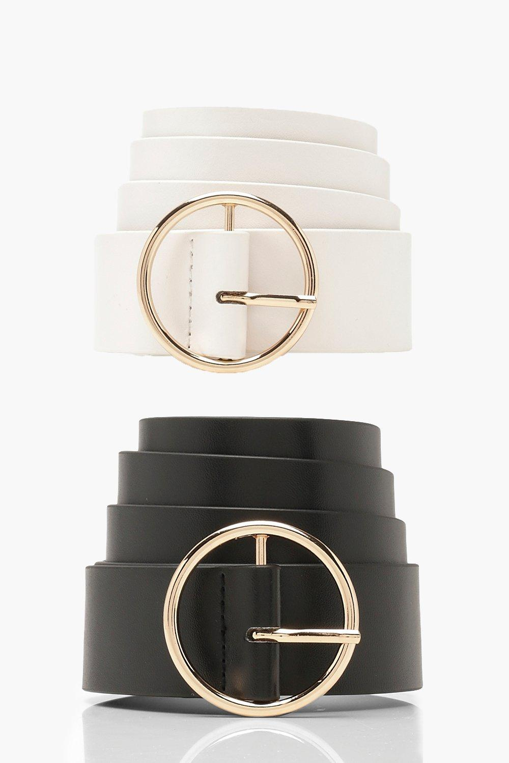 Two Pack Ring Circle Buckle Belt - Woven Trends