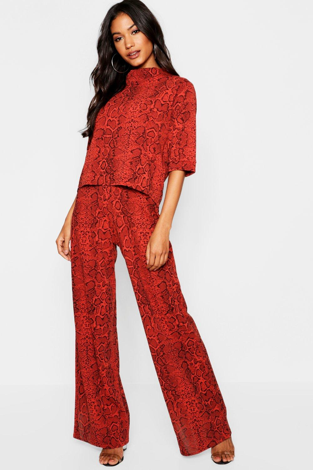 Carley Snake Print Top and Trouser Set - woven-trends