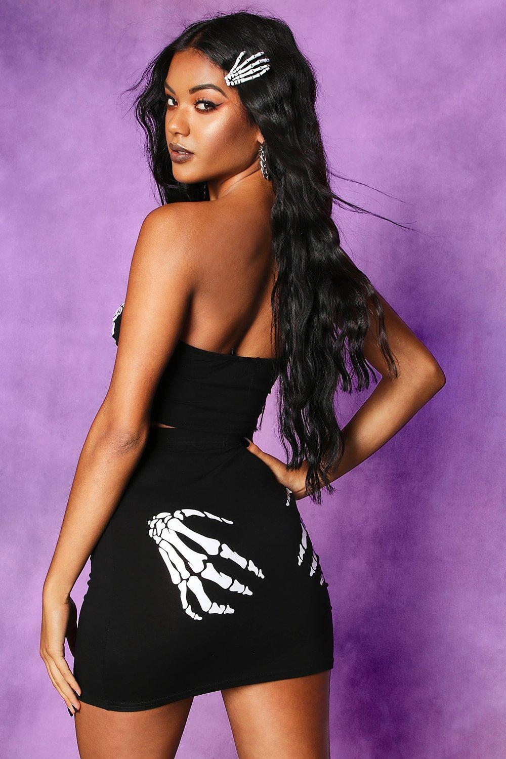 Giselle Halloween Skeleton Hands Bandeau and Skirt Co-ord - Woven Trends
