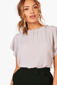 Cass Frill Sleeve and Neck Blouse - Woven Trends