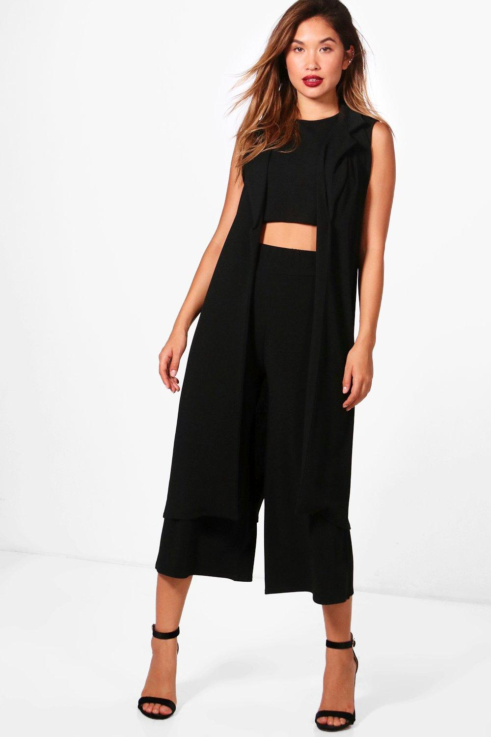 Jaylin Three Piece Crop Top, Culotte & Duster Co-Ord Set - woven-trends