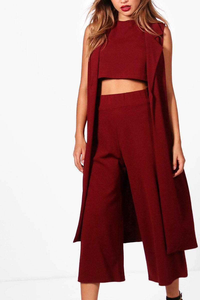 Jaylin Three Piece Crop Top, Culotte & Duster Co-Ord Set - Woven Trends