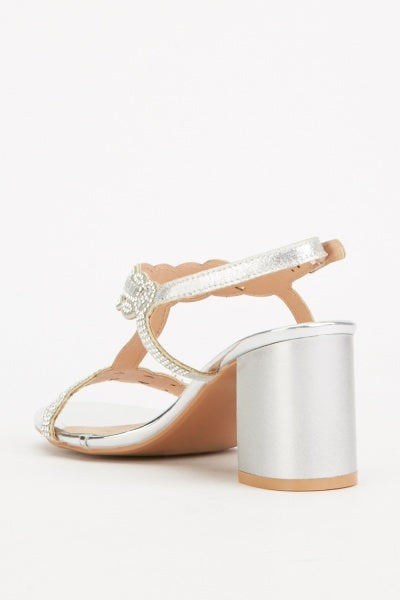 Adwoa Embellished Strap Heel Sandals-Woven Trends